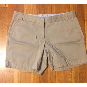 J crew shorts tan 14 broken in chino pockets